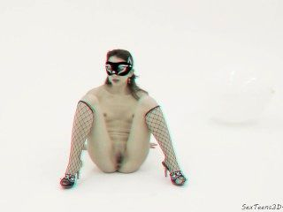 Niña Enmascarada Posando Y Difusión En Un Estudio 3d Porno Backstage