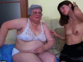 Vieja Abuelita Con Niña, Abuelita Masturbarse Con Un Juguete Y Con Joven Gir