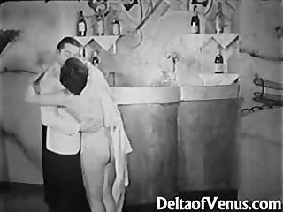 Vintage 1930s Ffm Threesome Nudist Bar