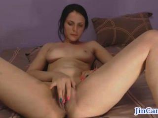 Morena Camgirl Orgasmo Dedo Masturbación En Webcam
