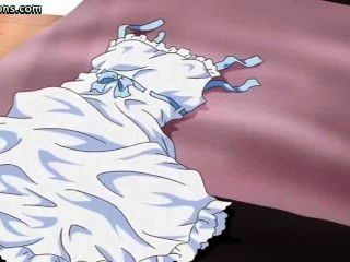 Redhead Anime Se Frota Una Polla Con Sus Tetas
