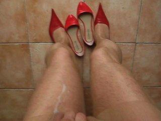 Gran Carga De Cum A Través De Pantyhose De Nylon Curtido 02