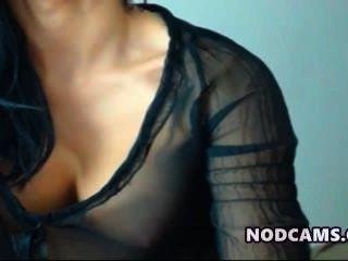 Súper Modelo Latina De Burlas En Blusa Sexy