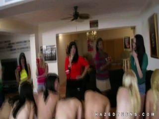 Chicas Adolescentes Arrodilladas Por Las Lesbianas De La Hermandad