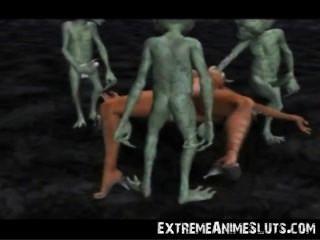 Los Extraterrestres Golpean Una Princesa 3d!